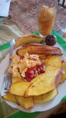 Typical sweet potato fry breakfast